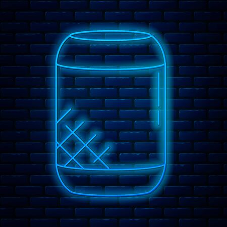 Glowing neon line Voice assistant icon isolated on brick wall background. Voice control user interface smart speaker. Vector Illustration