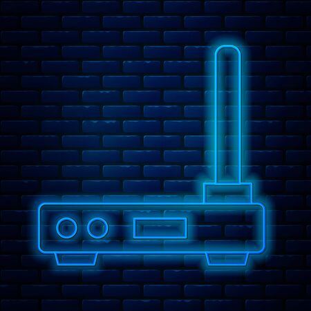 Glowing neon line Router and wifi signal symbol icon isolated on brick wall background. Wireless modem router. Computer technology internet. Vector Illustration