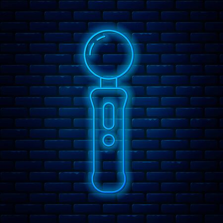 Glowing neon line Gamepad icon isolated on brick wall background. Game controller. Vector Illustration