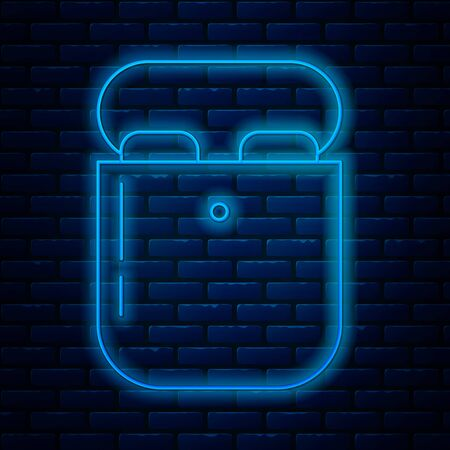 Glowing neon line Air headphones in box icon icon isolated on brick wall background. Holder wireless in case earphones garniture electronic gadget. Vector Illustration