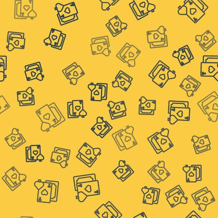 Blue line Playing card with heart symbol icon isolated seamless pattern on yellow background. Casino gambling. Vector Illustration 向量圖像