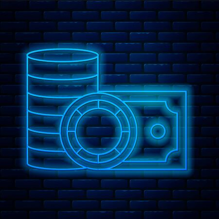 Glowing neon line Casino chips and stacks paper money cash icon isolated on brick wall background. Casino gambling. Vector Illustration
