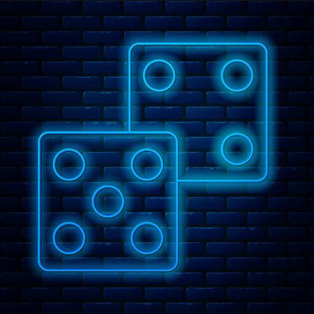 Glowing neon line Game dice icon isolated on brick wall background. Casino gambling. Vector Illustration Vector Illustration