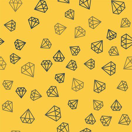 Blue line Diamond icon isolated seamless pattern on yellow background. Jewelry symbol. Gem stone. Vector Illustration Illustration