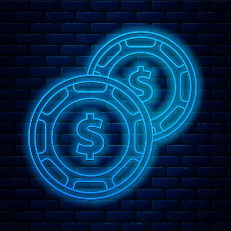 Glowing neon line Casino chip with dollar symbol icon isolated on brick wall background. Casino gambling. Vector Illustration