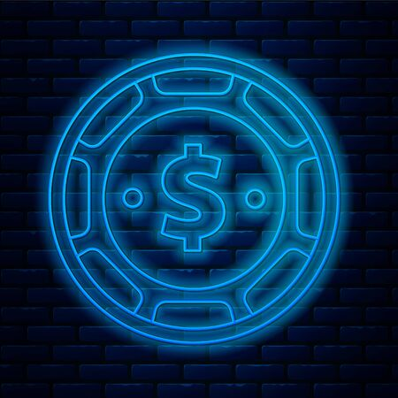 Glowing neon line Casino chip with dollar symbol icon isolated on brick wall background. Casino gambling. Vector Illustration Illustration