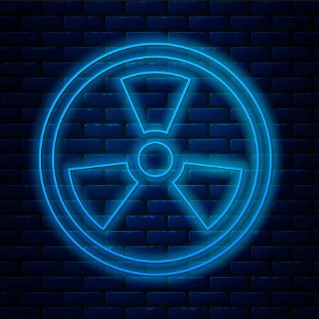 Glowing neon line Radioactive icon isolated on brick wall background. Radioactive toxic symbol. Radiation Hazard sign. Vector Illustration