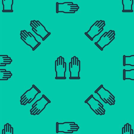 Blue line Rubber gloves icon isolated seamless pattern on green background. Latex hand protection sign. Housework cleaning equipment symbol. Vector Illustration