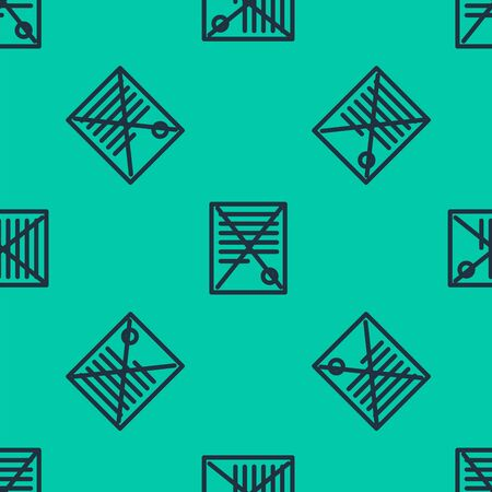 Blue line Delete file document icon isolated seamless pattern on green background. Rejected document icon. Cross on paper. Vector Illustration