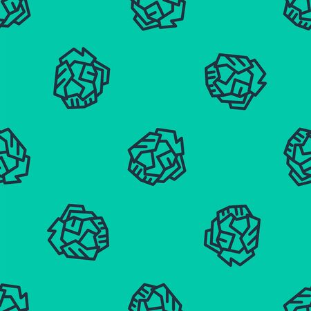 Blue line Crumpled paper ball icon isolated seamless pattern on green background. Vector Illustration