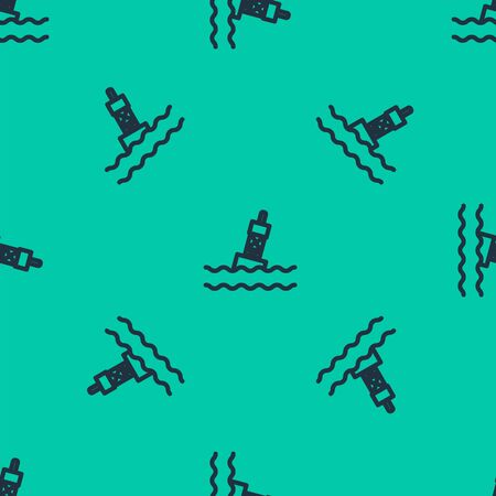 Blue line Floating buoy on the sea icon isolated seamless pattern on green background. Vector Illustration Фото со стока - 136388904