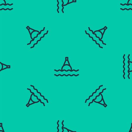 Blue line Floating buoy on the sea icon isolated seamless pattern on green background. Vector Illustration