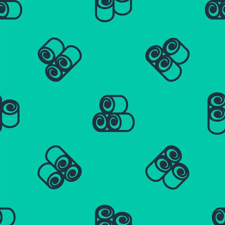 Blue line Roll of hay icon isolated seamless pattern on green background. Vector Illustration