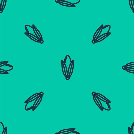 Blue line Corn icon isolated seamless pattern on green background. Vector Illustration