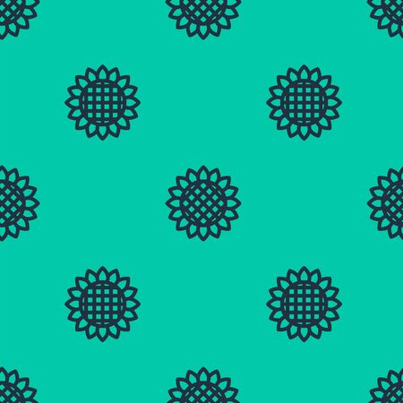Blue line Sunflower icon isolated seamless pattern on green background. Vector Illustration Иллюстрация