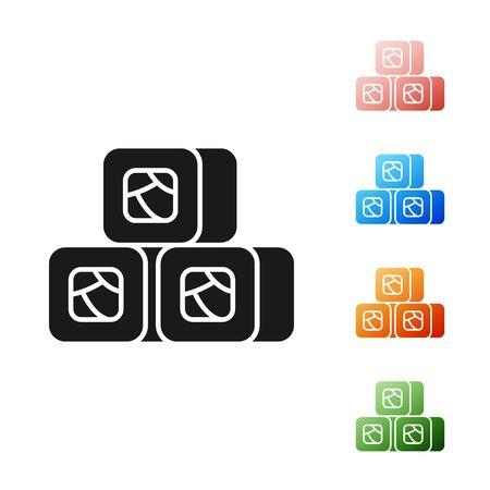 Black Sushi icon isolated on white background. Traditional Japanese food. Set icons colorful. Vector Illustration