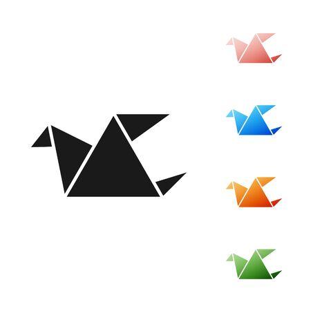 Black Origami bird icon isolated on white background. Set icons colorful. Vector Illustration