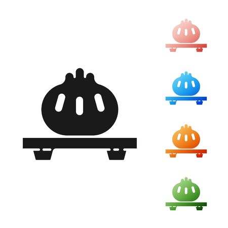 Black Dumpling on cutting board icon isolated on white background. Traditional chinese dish. Set icons colorful. Vector Illustration Illustration