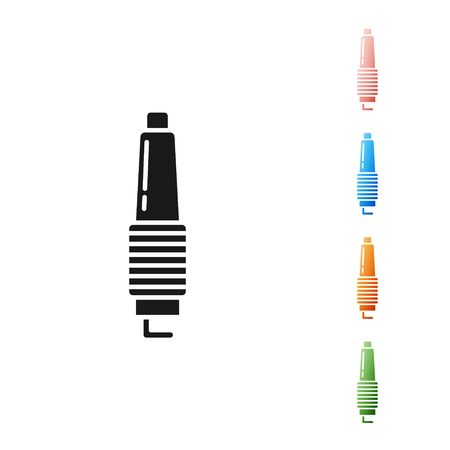 Black Car spark plug icon isolated on white background. Car electric candle. Set icons colorful. Vector Illustration Illustration