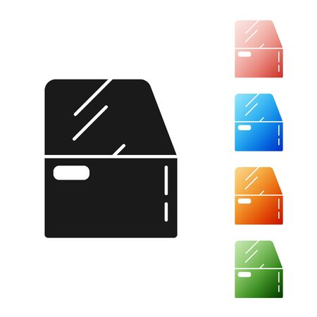Black Car door icon isolated on white background. Set icons colorful. Vector Illustration