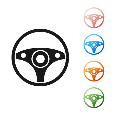 Black Steering wheel icon isolated on white background. Car wheel icon. Set icons colorful. Vector Illustration