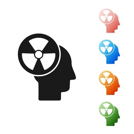 Black Silhouette of a human head and a radiation symbol icon isolated on white background. Set icons colorful. Vector Illustration