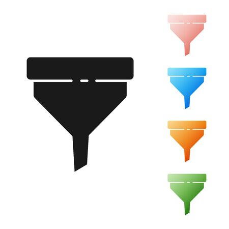 Black Funnel or filter icon isolated on white background. Set icons colorful. Vector Illustration  イラスト・ベクター素材