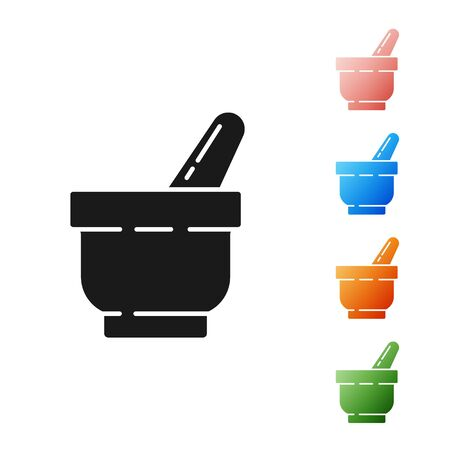 Black Mortar and pestle icon isolated on white background. Set icons colorful. Vector Illustration