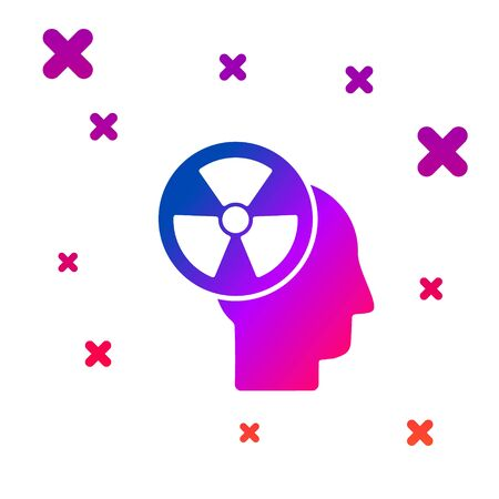 Color Silhouette of a human head and a radiation symbol icon isolated on white background. Gradient random dynamic shapes. Vector Illustration Иллюстрация