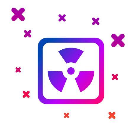 Color Radioactive icon isolated on white background. Radioactive toxic symbol. Radiation Hazard sign. Gradient random dynamic shapes. Vector Illustration