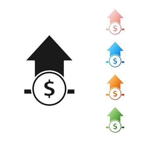 Black Financial growth and coin icon isolated on white background. Increasing revenue. Set icons colorful. Vector Illustration