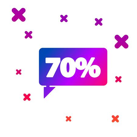 Color Seventy discount percent tag icon isolated on white background. Shopping tag sign. Special offer sign. Discount coupons symbol. Gradient random dynamic shapes. Vector Illustration
