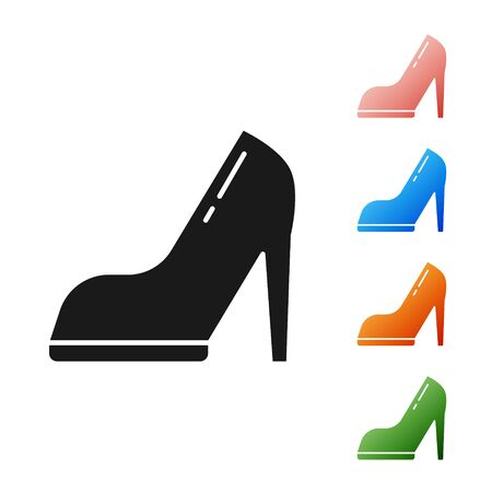 Black Woman shoe with high heel icon isolated on white background. Set icons colorful. Vector Illustration Stock Illustratie