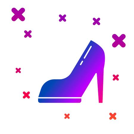 Color Woman shoe with high heel icon isolated on white background. Gradient random dynamic shapes. Vector Illustration Stock Illustratie