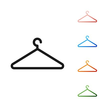 Black Hanger wardrobe icon isolated on white background. Cloakroom icon. Clothes service symbol. Laundry hanger sign. Set icons colorful. Vector Illustration Illustration