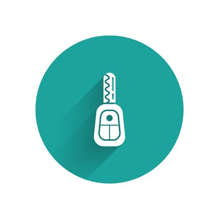 White Car key with remote icon isolated with long shadow background. Car key and alarm system. Green circle button. Vector Illustration