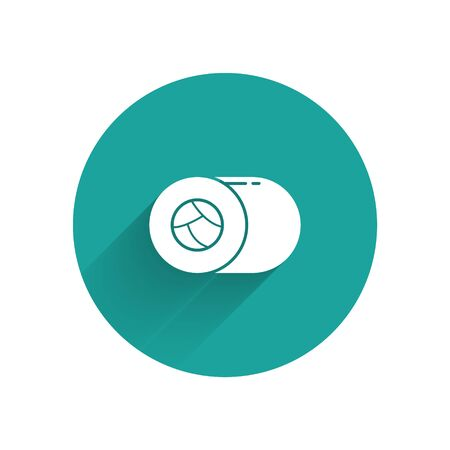 White Sushi icon isolated with long shadow. Traditional Japanese food. Green circle button. Vector Illustration  イラスト・ベクター素材