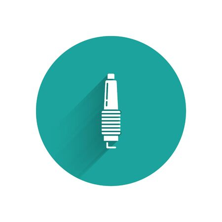 White Car spark plug icon isolated with long shadow background. Car electric candle. Green circle button. Vector Illustration Illustration