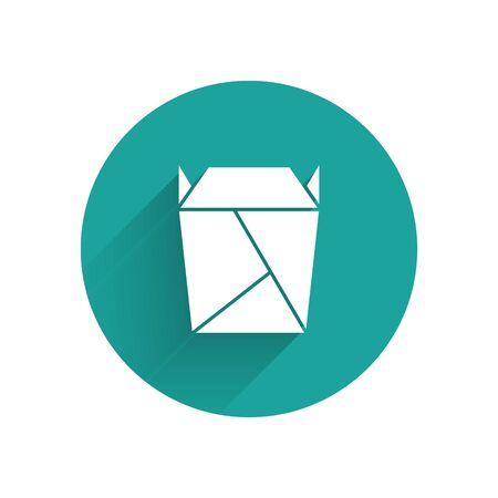 Le restaurant chinois blanc a ouvert l'icône remplie de boîte à emporter isolée avec une longue ombre. Nourriture à emporter. Bouton cercle vert. Illustration vectorielle