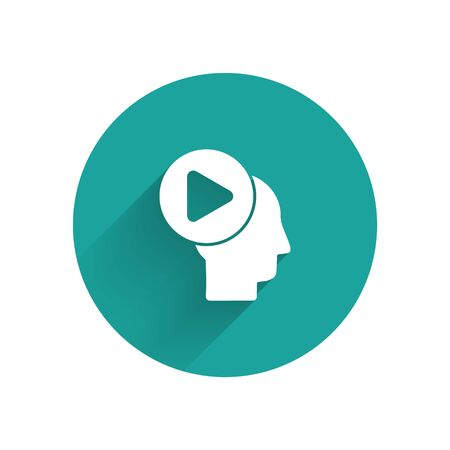 White Head people with play button icon isolated with long shadow. Green circle button. Vector Illustration