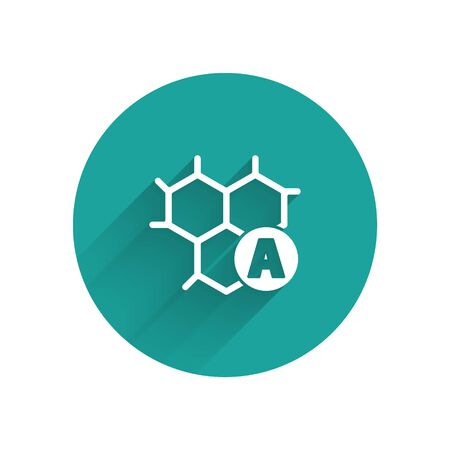 White Chemical formula icon isolated with long shadow. Abstract hexagon for innovation medicine, health, research and science. Green circle button. Vector Illustration