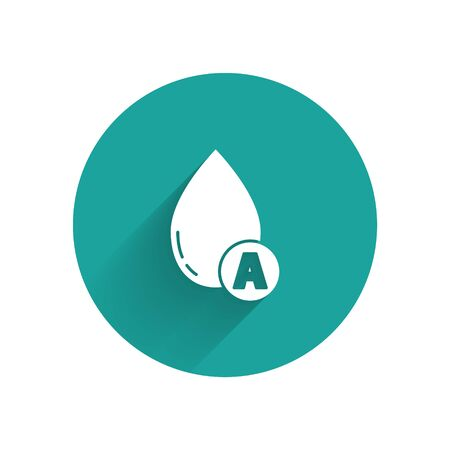 White Water drop icon isolated with long shadow. Green circle button. Vector Illustration