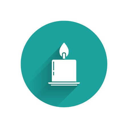 White Burning candle in candlestick icon isolated with long shadow. Cylindrical candle stick with burning flame. Green circle button. Vector Illustration