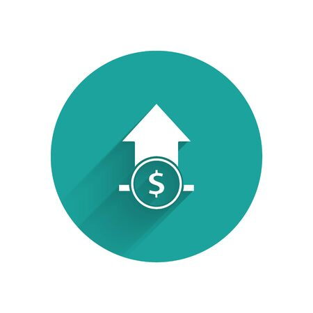 White Financial growth and coin icon isolated with long shadow. Increasing revenue. Green circle button. Vector Illustration 일러스트