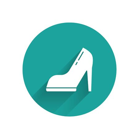 White Woman shoe with high heel icon isolated with long shadow. Green circle button. Vector Illustration