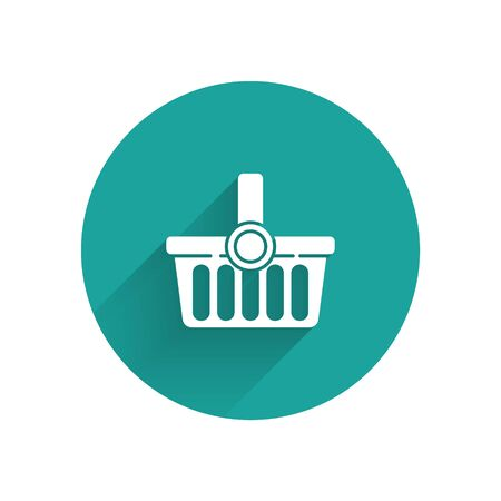 White Shopping basket icon isolated with long shadow. Online buying concept. Delivery service sign. Shopping cart symbol. Green circle button. Vector Illustration