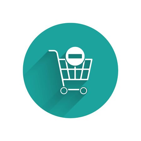 White Remove shopping cart icon isolated with long shadow. Online buying concept. Delivery service. Supermarket basket and X mark. Green circle button. Vector Illustration