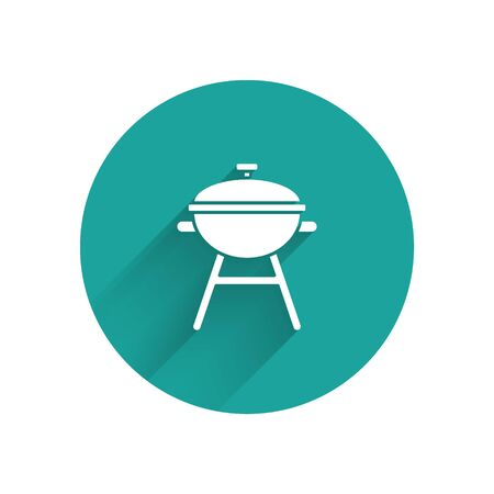 White Barbecue grill icon isolated with long shadow. BBQ grill party. Green circle button. Vector Illustration
