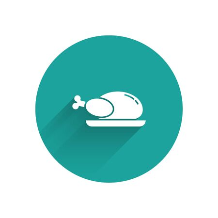 White Roasted turkey or chicken icon isolated with long shadow. Green circle button. Vector Illustration