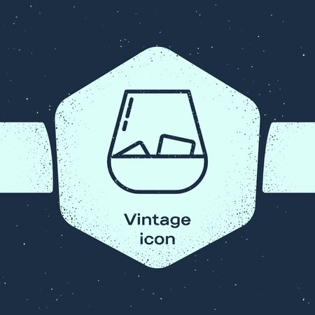 Grunge line Glass of whiskey and ice cubes icon isolated on blue background. Monochrome vintage drawing. Vector Illustration